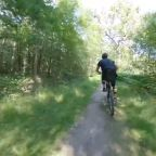 Guy Speedily Rides Bike Through Narrow Paths in Woods