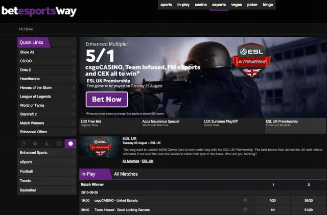 eSports gets its first major UK bookmaker
