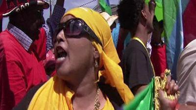 Raw Video: Ethiopian activists join G-8 protests