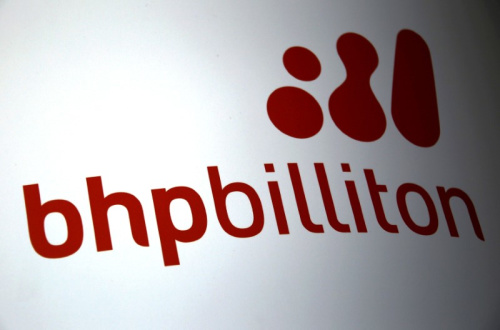 A logo for mining company BHP Billiton adorns a sign outside the Perth Convention Centre where their annual general meeting was being held in Perth, Western Australia