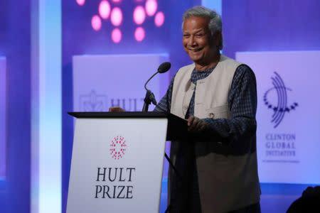 Nobel Peace Prize winner Muhammad Yunus addresses the Hult Prize Award Dinner during the Clinton Global Initiative in Manhattan, New York