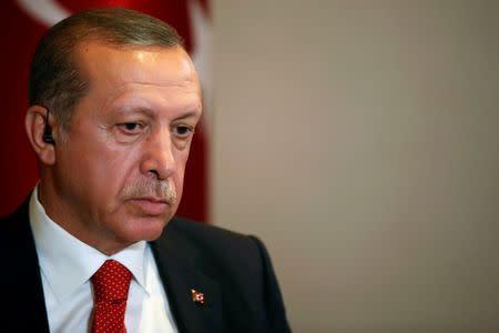 Turkish President Tayyip Erdogan prepares for an interview in New York