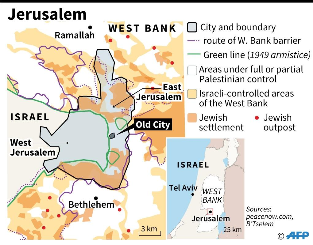 Map of Jerusalem (AFP Photo/Gillian HANDYSIDE)