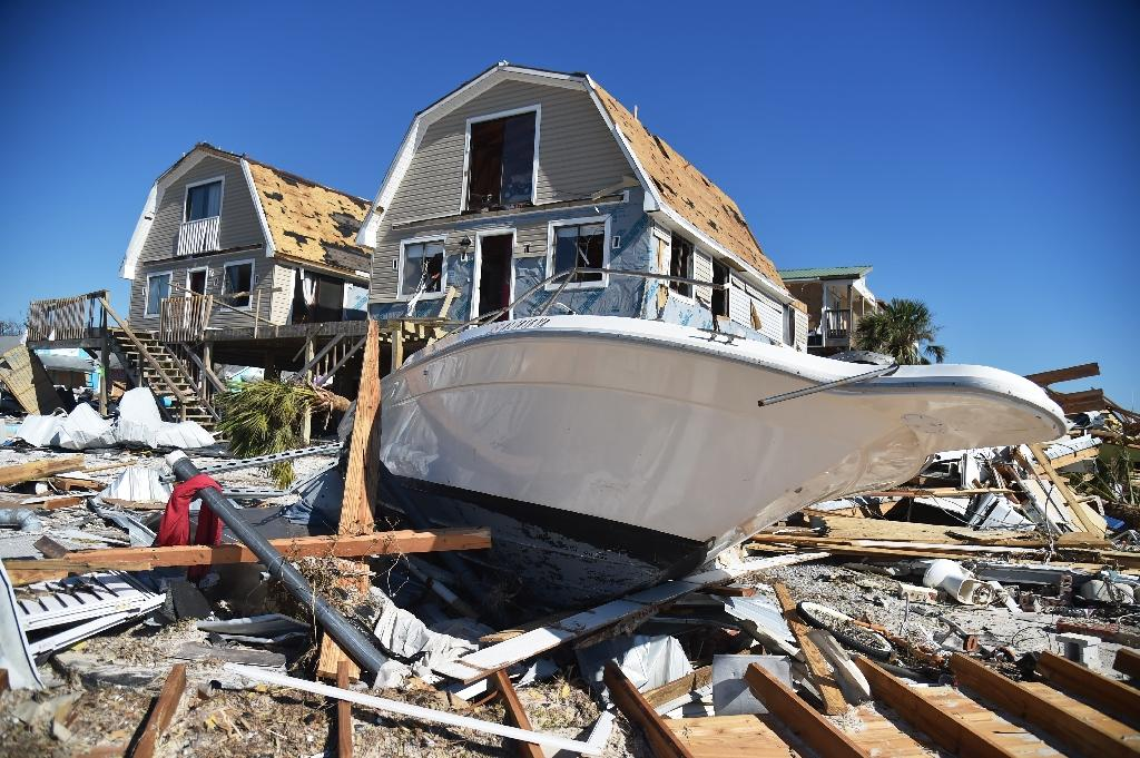 View of the damaged caused by Hurricane Michael in Mexico Beach, Florida, on October 13, 2018, in Mexico Beach, Florida, three days after Hurricane Michael hit the area (AFP Photo/HECTOR RETAMAL)