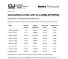 Canadian Utilities Limited Eligible Dividends