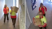 Fake posties caught on camera stealing parcels