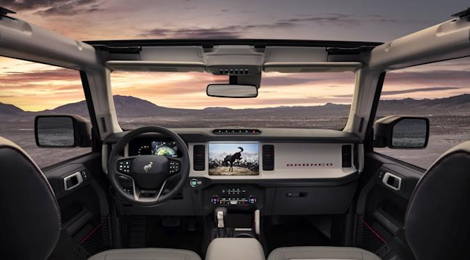 The instrument panel is inspired by the first-generation Bronco, with intuitive, clearly visible LED gauges and controls in this prototype version of the all-new 2021 Bronco four-door (not representative of production model). (Static display on private property with aftermarket accessories not available for sale.)