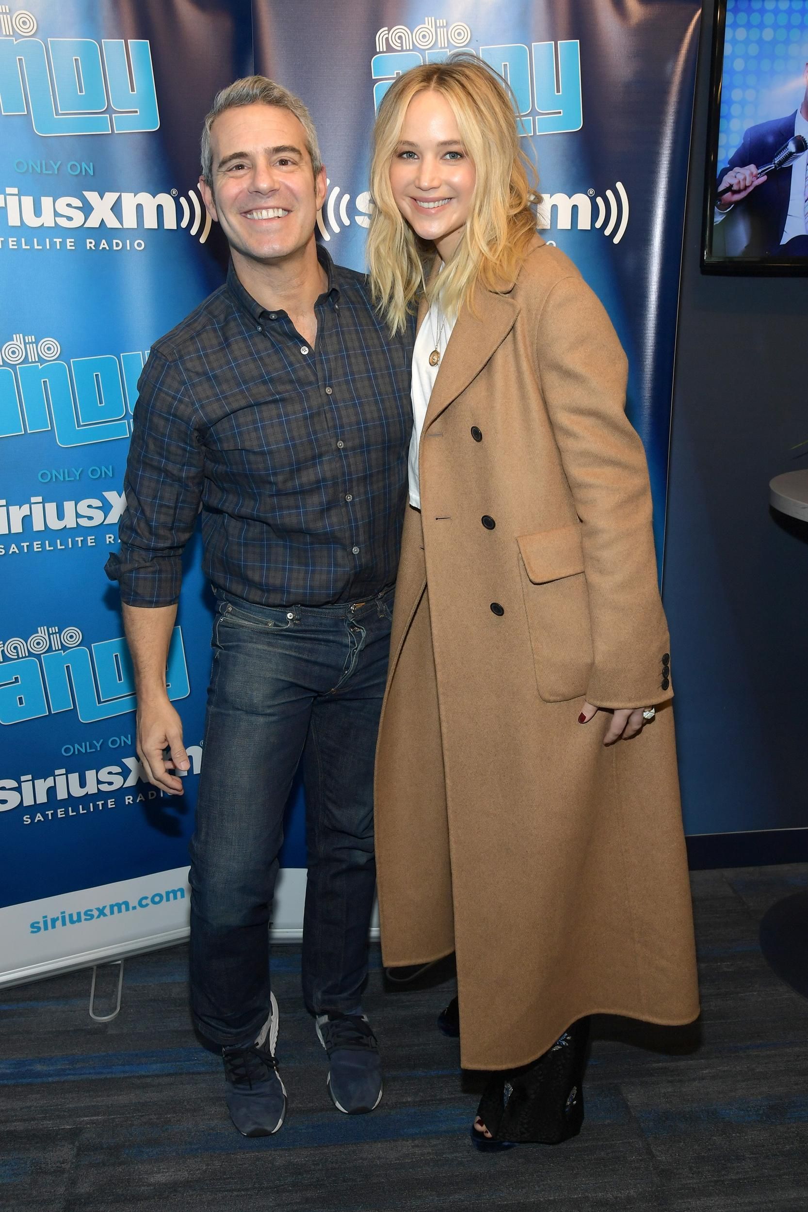 NEW YORK, NY - FEBRUARY 28:  Actress Jennifer Lawrence (R) visits 'Andy Cohen Live' hosted by Andy Cohen (L) on his exclusive SiriusXM channel Radio Andy at the SiriusXM Studios on February 28, 2018 in New York City.  (Photo by Ben Gabbe/Getty Images)
