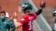Eagles' QB Carson Wentz narrowly avoided injury as Andre Dillard continues to struggle with bull rush