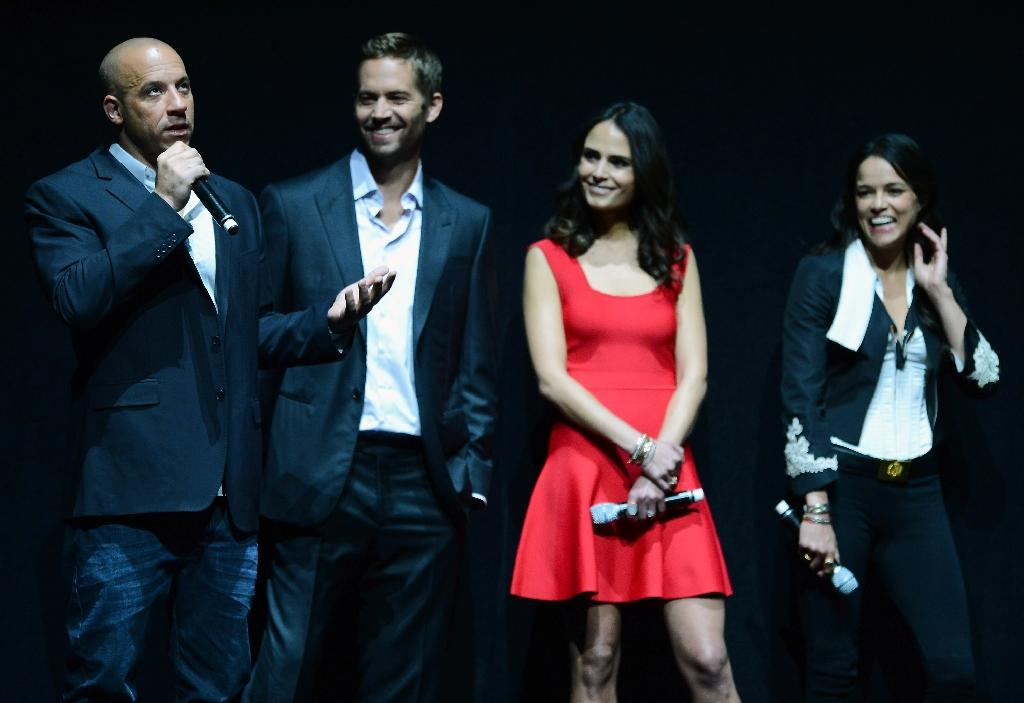 "(L-R) Actors Vin Diesel and Paul Walker, and actresses Jordana Brewster and Michelle Rodriguez attend a Universal Pictures presentation to promote ""Fast & Furious 6"" in Las Vegas, Nevada on April 16, 2013"