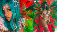 Rihanna smoulders in sexy beaded bikini and feathers at Crop Over Festival in Barbados