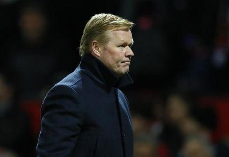 Everton manager Ronald Koeman walks off after the game