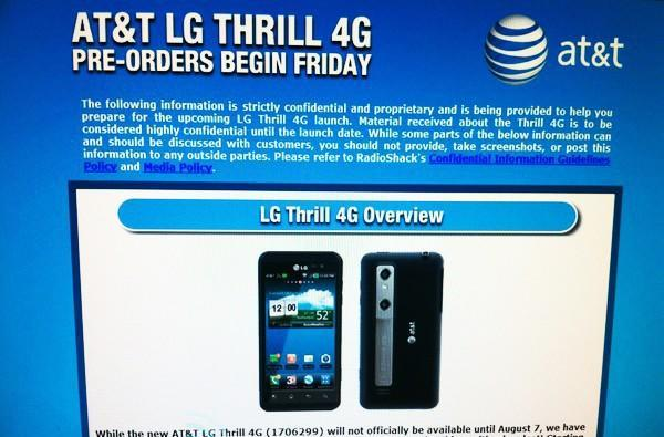 LG Thrill 4G up for pre-order today at Radio Shack, ahead of August 7th launch?