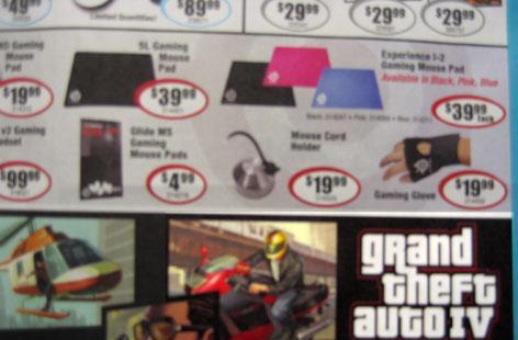GTA IV dated 'March 08' in Micro Center ad
