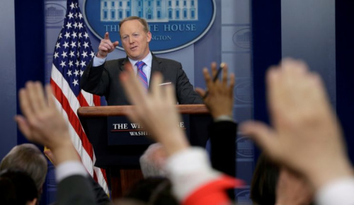 Sean Spicer holds a press briefing in May.