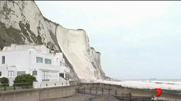 Chalk cliffs collapse into water