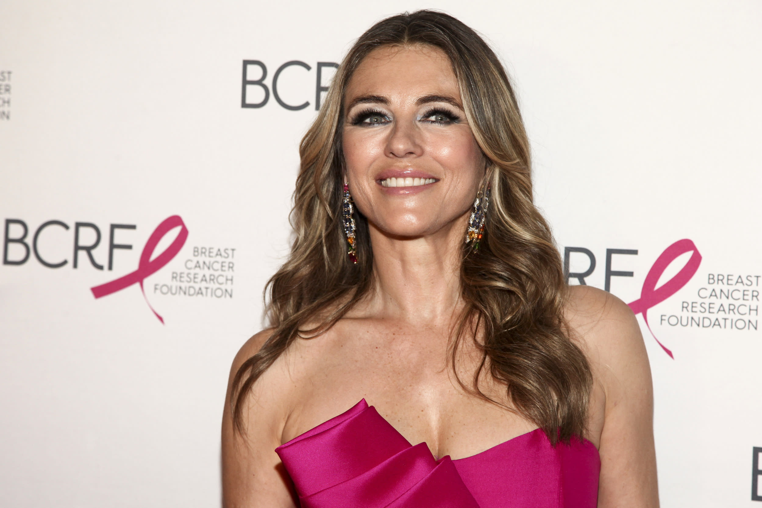 """Elizabeth Hurley attends the Breast Cancer Research Foundation's """"The Hot Pink Party"""" at the Park Avenue Armory on Thursday, May 17, 2018, in New York. (Photo by Andy Kropa/Invision/AP)"""