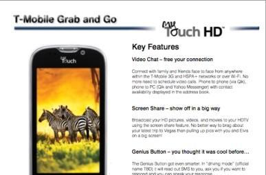 Rumored T-Mobile doc pegs myTouch HD with front-facing camera, screen sharing, and 'dual processor'