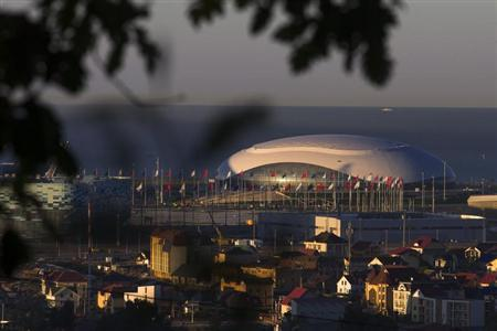 General view shows the Bolshoy Ice Dome during sunrise at coastal cluster of 2014 Sochi Winter Olympics in Sochi