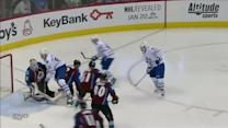 Phil Kessel gets puck in front and scores