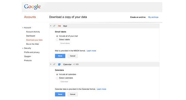 Google now lets you download your Gmail and Calendar data