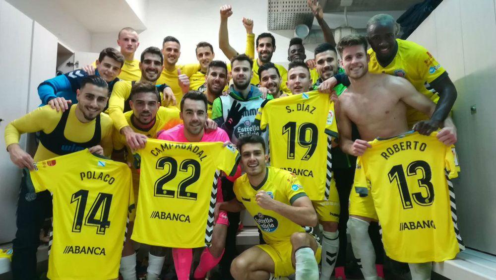 Sergio Díaz recibe dedicatoria de sus compañeros del Deportivo Lugo