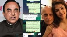 Subramanian Swamy reacts on Rhea Chakraborty & Mahesh Bhatt's whats app chat