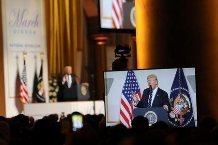 U.S. President Donald Trump delivers remarks at the National Republican Congressional Committee March Dinner in Washington, U.S.