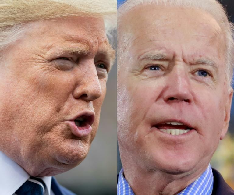 President Donald Trump (L) has been trailing Democratic presidential hopeful Joe Biden badly in the polls (AFP Photo/SAUL LOEB, Ronda Churchill)