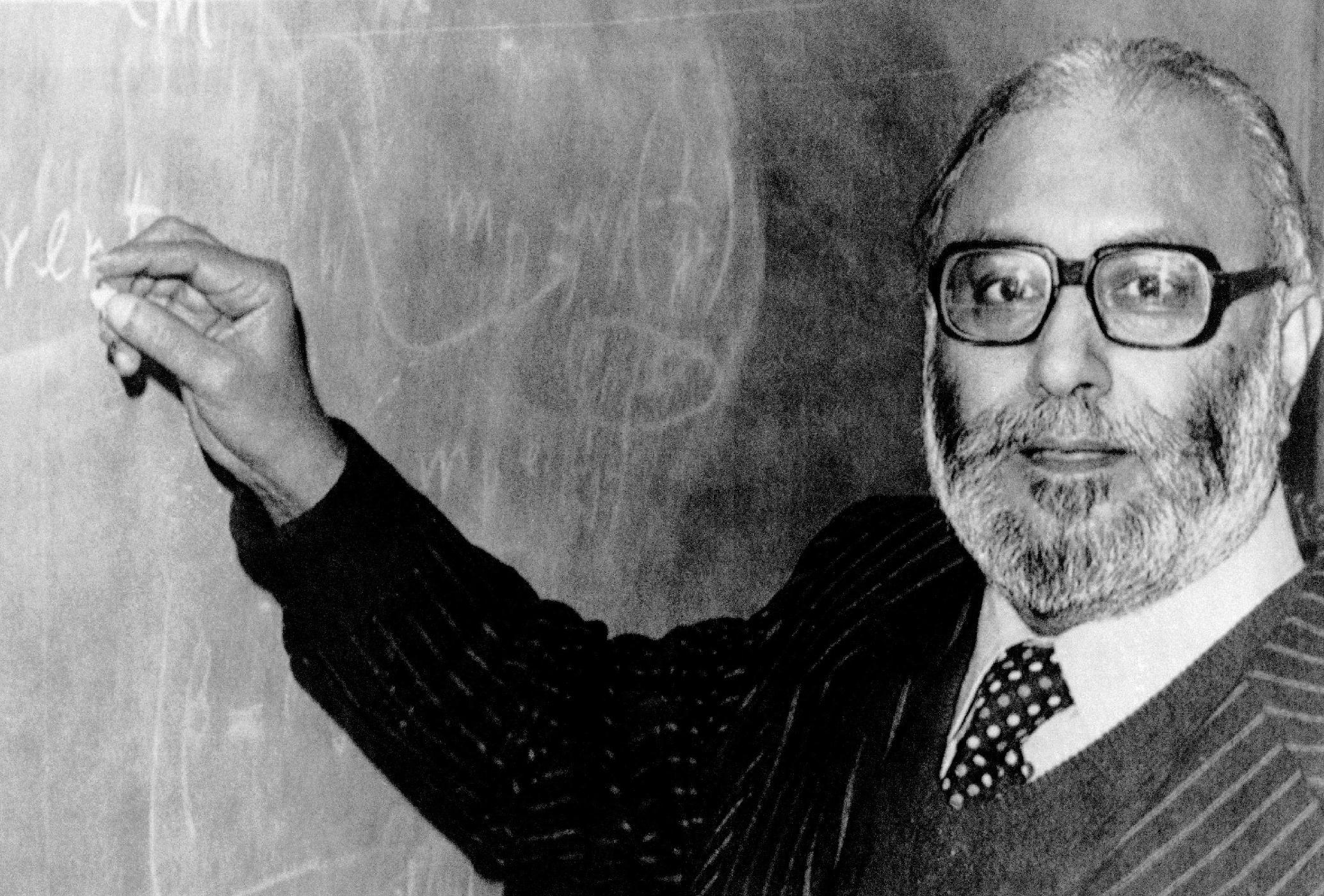 In this picture taken on Oct 15, 1979, the first Pakistani Nobel Prize laureate Professor Abdus Salam, pictured in London, England after he heard the news that he was joint winner of the 1979 Nobel Prize for Physics. Salam, who belongs to a minority Muslim sect , helped develop the theoretical framework that led physicists to discover the ?God particle? this week, stoking worldwide excitement, yet he is not celebrated by his country and schoolchildren are rarely even taught his name.(AP Photo)