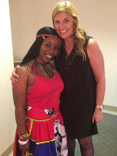 rene Nkosi, left, and Robin Smalley, both of Mothers2Mothers, which aims to end the transmission of pediatric AIDS.