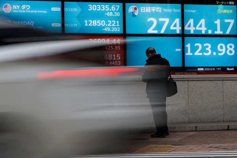 Asian shares slip but economic optimism keeps world shares near record high