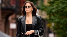 Irina Shayk Struts Through NYC in a Matrix-esque Coat and Combat Boots