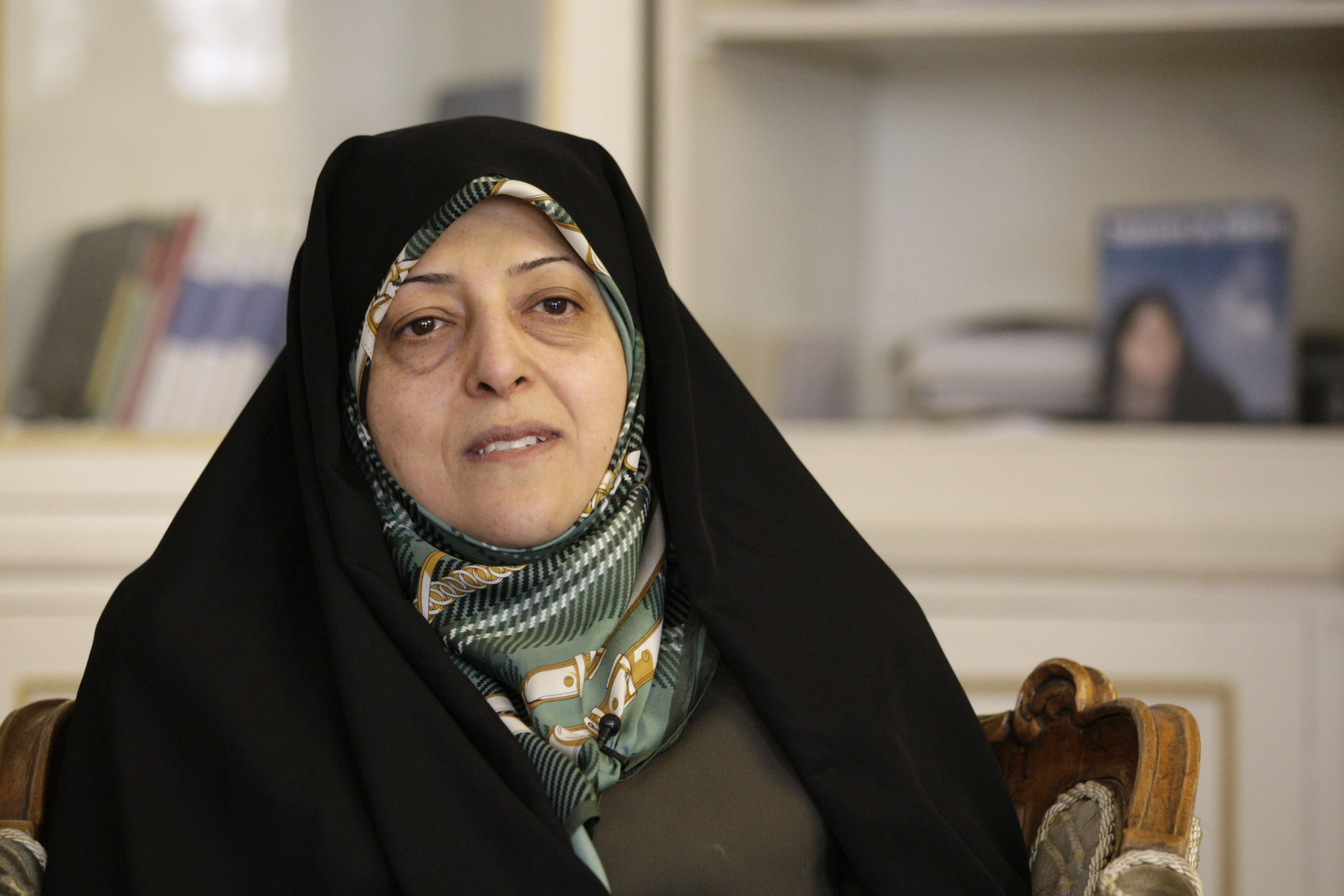 FILE - In this Feb. 14, 2013 file photo, Iranian Vice-President Masoumeh Ebtekar gives an interview to The Associated Press, in Tehran, Iran. On Thursday, Feb. 27, 2020, the English-language IRAN daily newspaper via its Twitter account, said Masoumeh Ebtekar, a vice president in the Islamic Republic and a spokeswoman for the 1979 hostage-takers, has the new coronavirus. (AP Photo/Vahid Salemi, File)