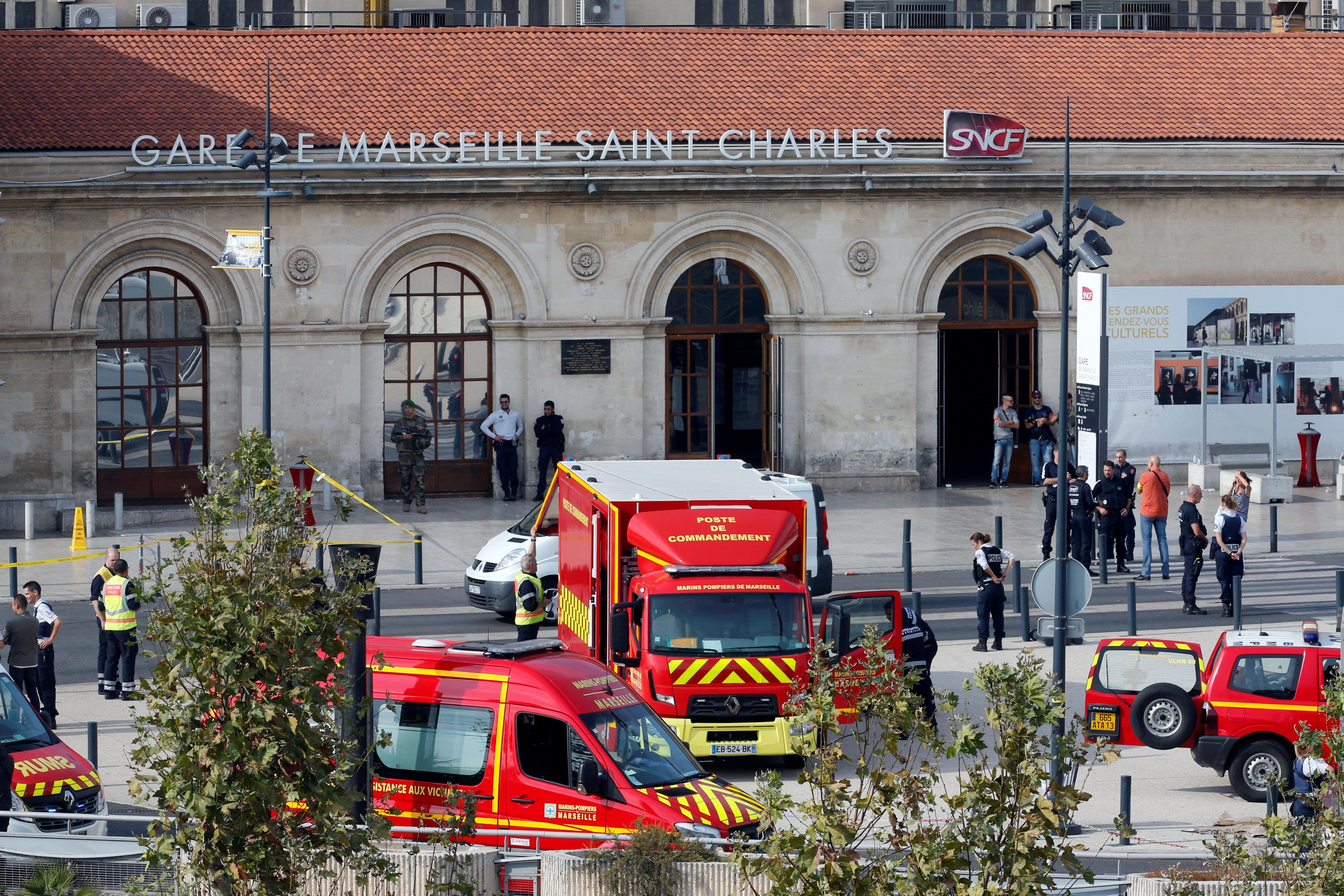 <p>Emergency services vehicles are seen outside the Saint-Charles train station after French soldiers shot and killed a man who stabbed two women to death at the main train station in Marseille, France, Oct. 1, 2017. (Jean-Paul Pelissier/Reuters) </p>