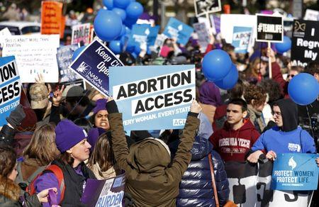 Protesters demonstrate in front of the U.S. Supreme Court in the morning as the court takes up a major abortion case focusing on whether a Texas law that imposes strict regulations on abortion doctors and clinic buildings interferes with the constitutional right of a woman to end her pregnancy, in Washington March 2, 2016. REUTERS/Kevin Lamarque/File Photo