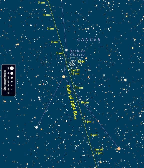 Asteroid BL86 will be brightest when it flies by the Beehive Cluster seen in this star map. The line through the image shows the path of the giant space rock.