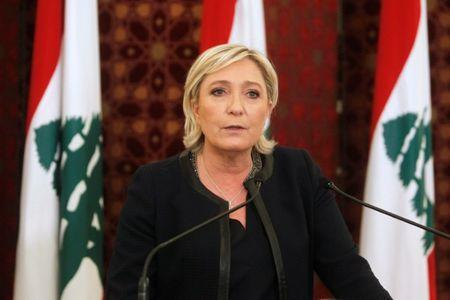 Marine Le Pen, French National Front (FN) political party leader and candidate for French 2017 presidential election, speaks during a news conference after meeting with Lebanon's Prime Minister Saad al-Hariri at the government palace in Beirut