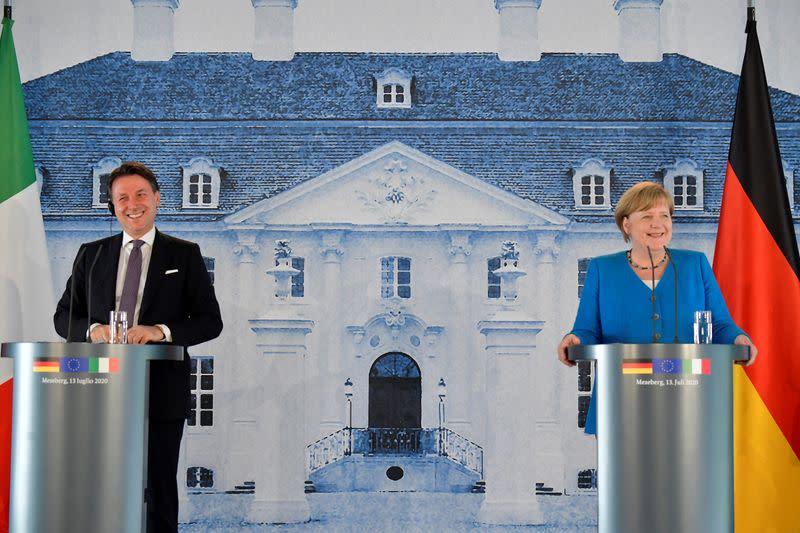 German Chancellor Merkel meets Italian PM Conte in Meseberg