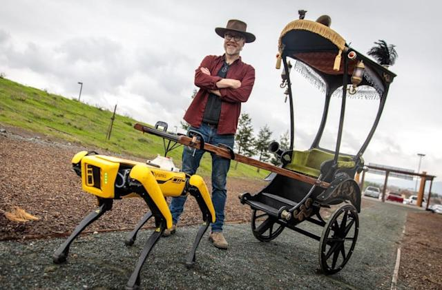 Adam Savage turned Spot the robodog into a creepy rickshaw driver