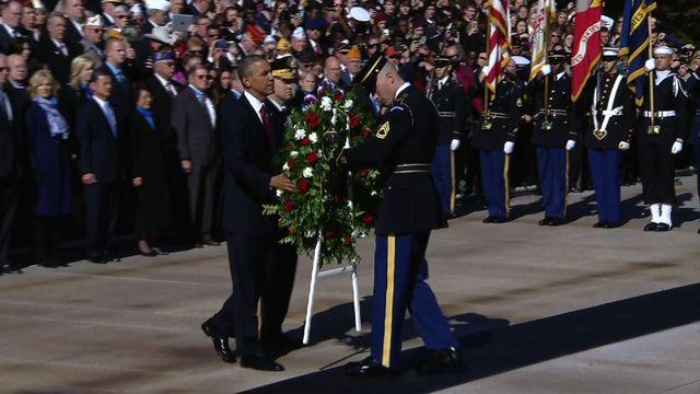 Obama lays wreath at Tomb of the Unknown Soldier
