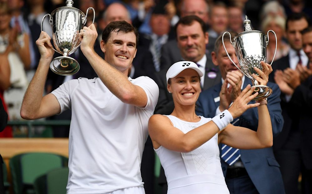 Jamie Murray and Martina Hingis celebrate with the mixed doubles final - Getty Images Europe