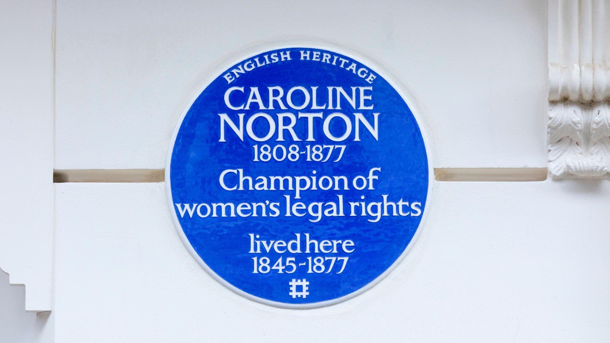 English Heritage unveils blue plaque commemorating campaigner Caroline Norton