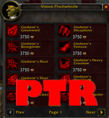 PTR notes: All PvP gear upgraded