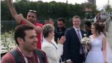 Egyptian World Cup Fans Dance and Sing Around Russian Newlyweds