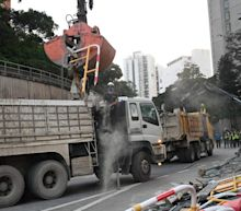 Chinese People's Liberation Army (PLA) on streets of Hong Kong for clean-up operation