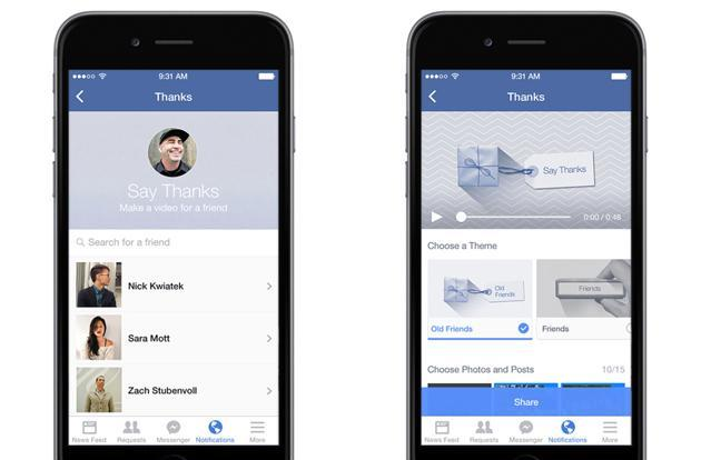 Facebook's Say Thanks lets you send video cards to your friends