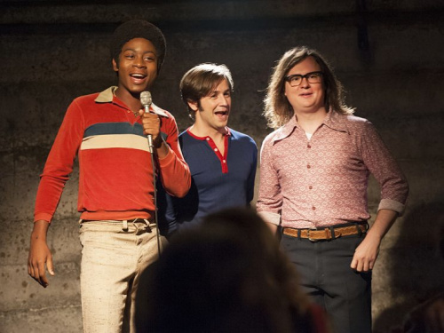 RJ Cyler as Adam, Michael Angarano as Eddie and Clark Duke as Ron in Showtime's I'm Dying Up Here. (Photo: Lacey Terrell/Showtime)
