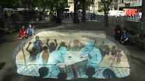 3D painting urges Syrian peace talks
