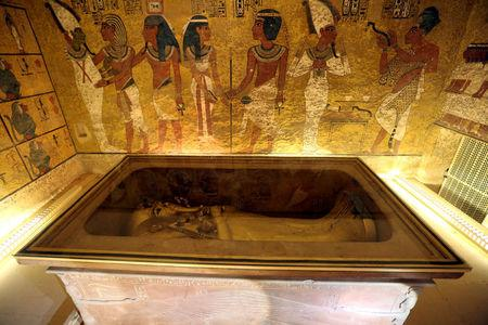 FILE PHOTO: The golden sarcophagus of King Tutankhamun in his burial chamber is seen in the Valley of the Kings, in Luxor
